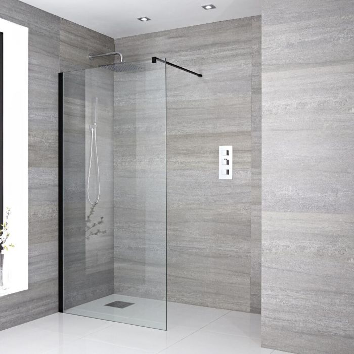 One Piece Wall-Mounted Glass with Support Arm with Drain and Black profile 900mm