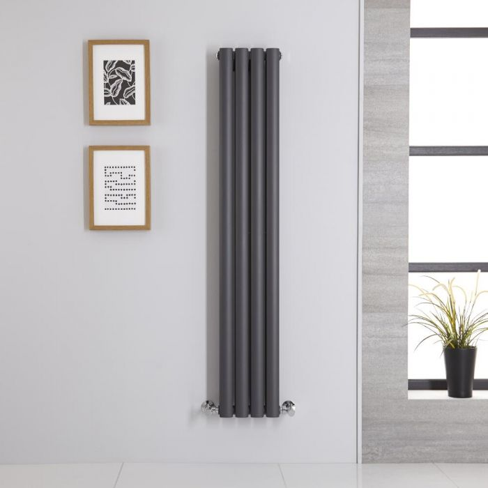 Radiador de Diseño Vertical Doble - Antracita - 1400mm x 236mm x 78mm - 696 Vatios - Revive
