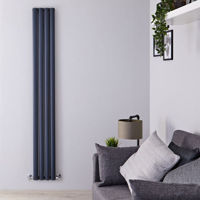 Radiador de Diseño Vertical Doble - Antracita - 1800mm x 230mm x 76mm - 1002 Vatios - Revive Air