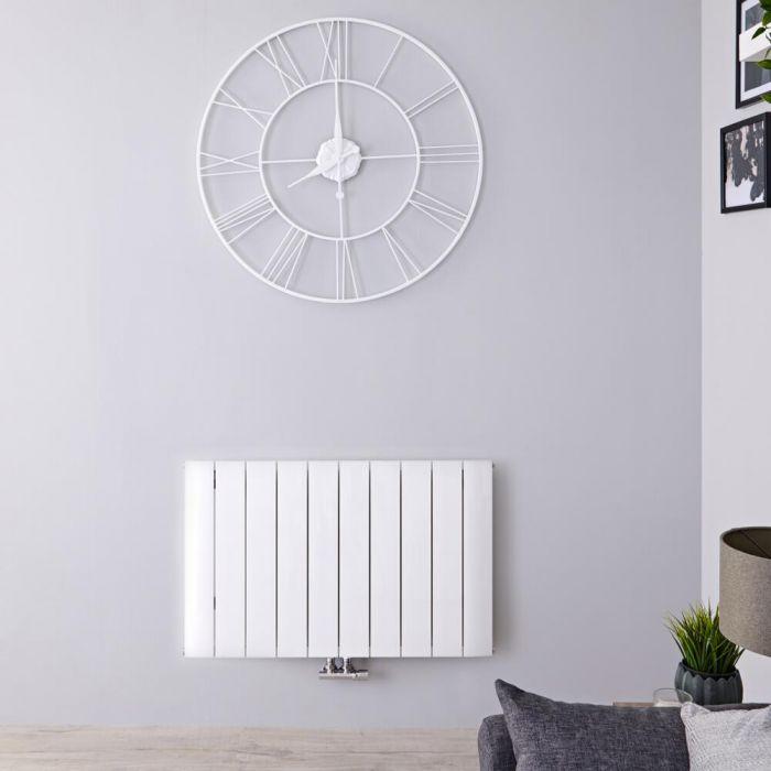 Radiador de Diseño Horizontal Con Conexión Central - Aluminio - Blanco - 600mm x 945mm x 46mm - 1279 Vatios - Aurora