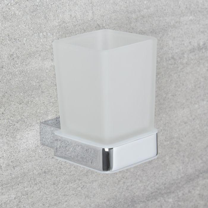 Vaso Porta Cepillo de Dientes en Vidrio Transparente y Soporte Porta Vaso Mural