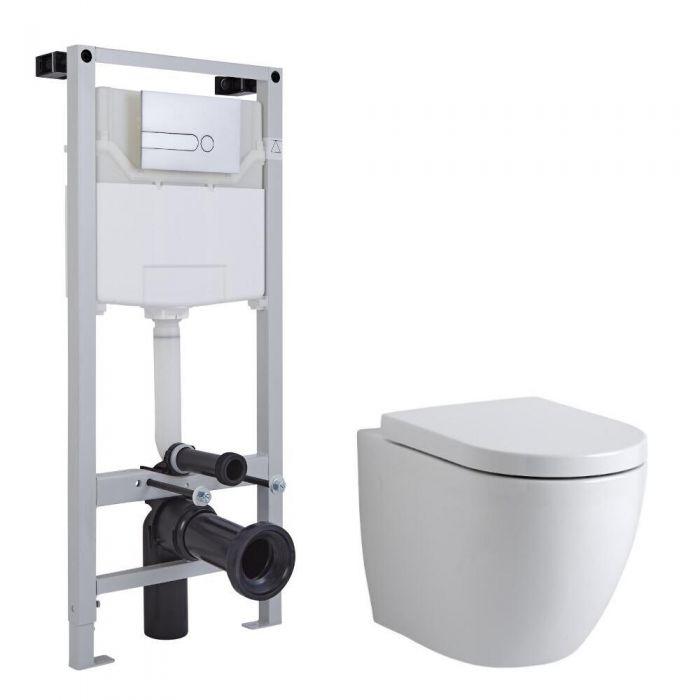 Inodoro Oval Suspendido Completo con Tapa, Estructura Empotrable, Cisterna y Placa de Descarga - Ashbury