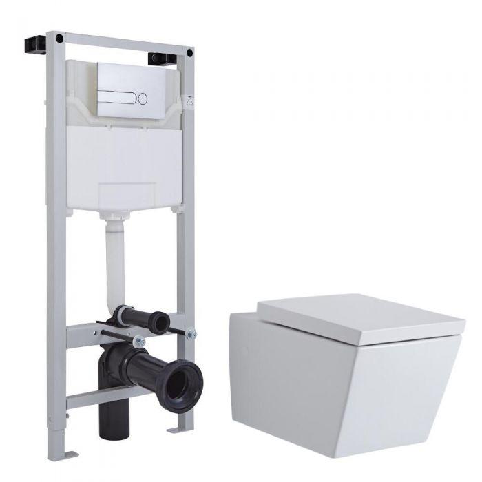 Inodoro Cuadrado Suspendido Completo con Cisterna, Estructura Empotrable, Cisterna, Tapa y Placa de Descarga - Halwell