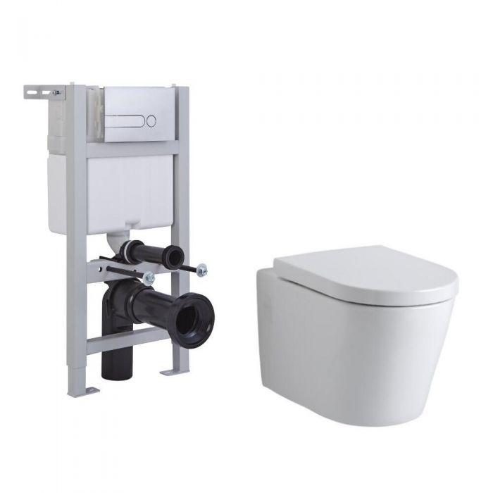 Inodoro Oval Suspendido Completo con Tapa, Estructura Empotrable, Cisterna y Placa de Descarga – Exton