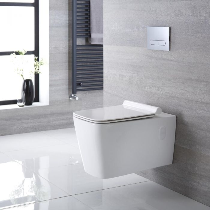 Inodoro WC Cuadrado Moderno Suspendido 360x345x570mm con Tapa de WC Soft Close -  Sandford