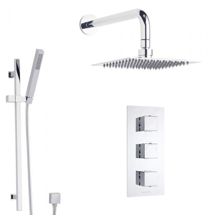 Conjunto de ducha Termostática con Alcachofa, Ducha de Mano, Barra, Brazo y Codo