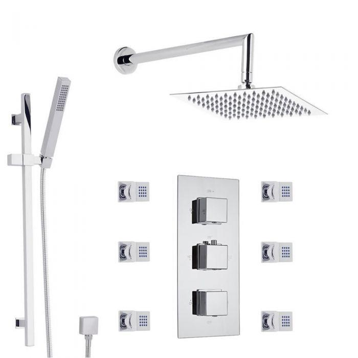 Sistema de Ducha con llave Mezcladora Termostática Triple con Alcachofa Extraplana