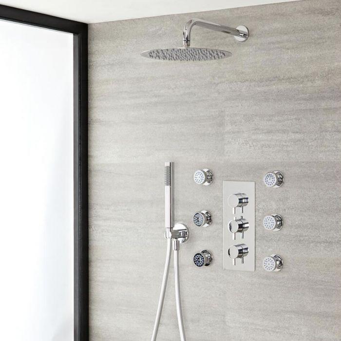 Sistema de ducha con Mezclador Termostático con Alcachofa Extraplana