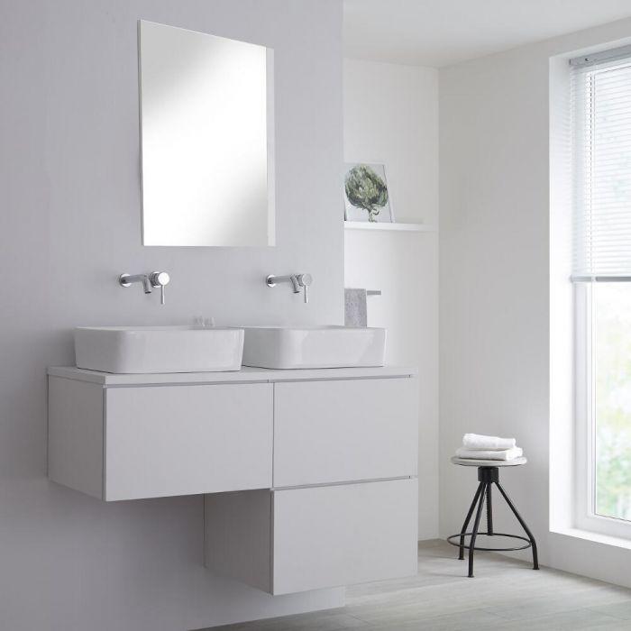 Mueble Base Mural para Lavabo de Sobre Encimera de Color Blanco Opaco en Forma de L de 1200mm con Opción LED con Lavabos Rectangulares – Newington