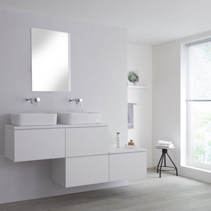 Mueble Base Mural para Lavabo de Sobre Encimera de Color Blanco Opaco con Diseño Escalonado de 1800mm con Opción LED con 2 Lavabos Rectangulares – Newington