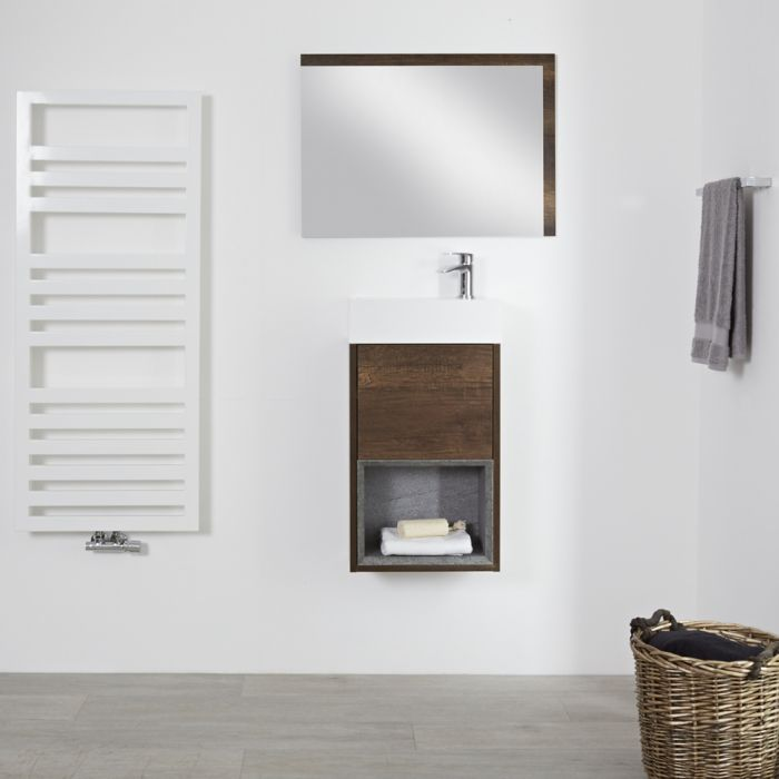 Mueble de Lavabo con Diseño Abierto de Color Roble Oscuro Completo con Lavabo - Hoxton