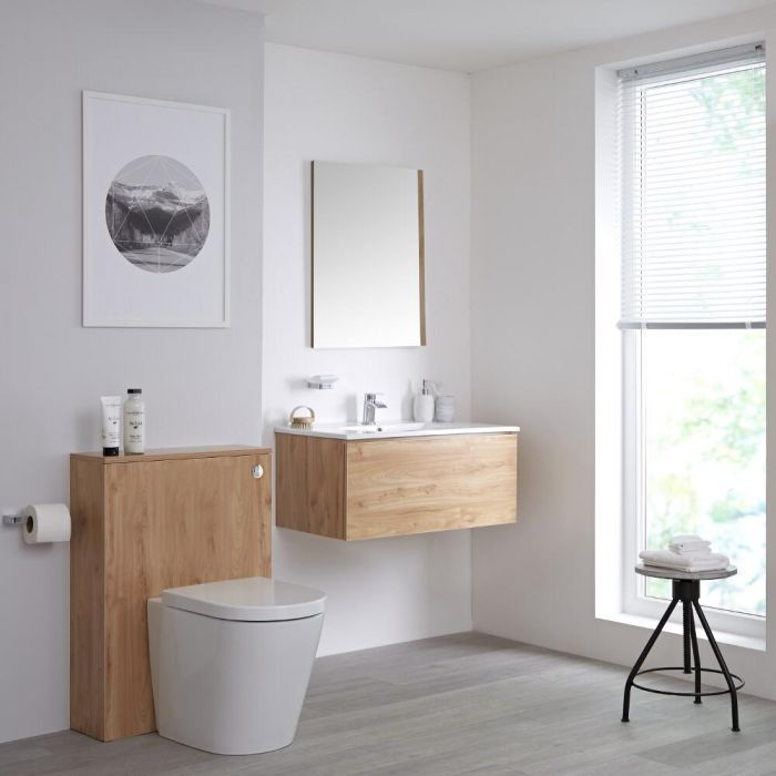 Mueble de Baño de 800mm Color Roble Dorado con Inodoro y Lavabo Disponible con Opción LED- Newington