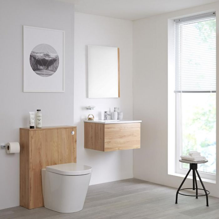 Mueble de Baño de 600mm Color Roble Dorado Completo con Cisterna, Inodoro y Lavabo Disponible con Opción LED - Newington