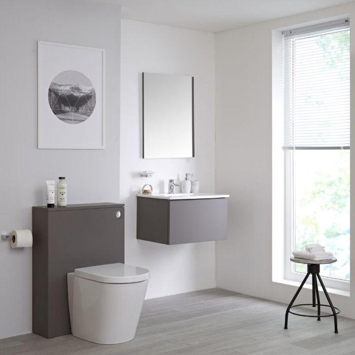 Mueble de Baño de 600mm Color Gris Opaco Completo con Cisterna, Inodoro y Lavabo Disponible con Opción LED - Newington