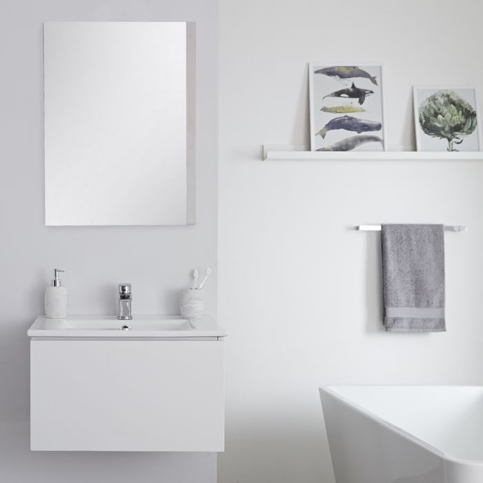 Mueble de Lavabo Mural Moderno de 600mm Color Blanco Opaco con Lavabo Integrado para Baño Disponible con Opción LED  - Newington