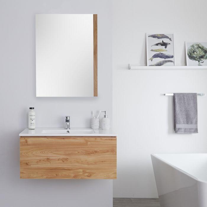 Mueble de Lavabo Mural Moderno de 800mm Color Roble Dorado con Lavabo Integrado para Baño Disponible con Opción LED  - Newington