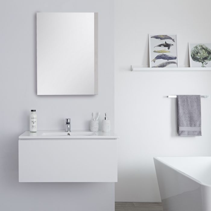 Mueble de Lavabo Mural Moderno de 800mm Color Blanco Opaco con Lavabo Integrado para Baño Disponible con Opción LED  - Newington