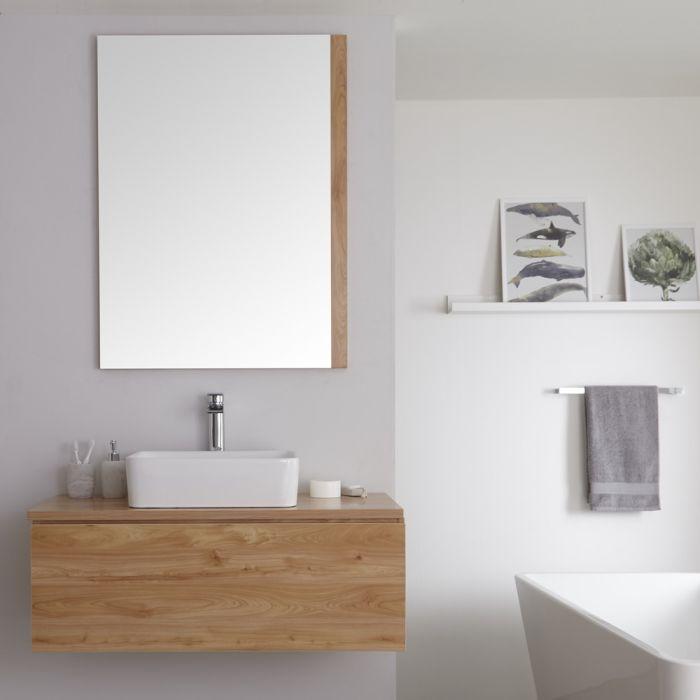 Mueble de Lavabo Mural de 1000mm de Color Roble Dorado con Lavabo de Sobre Encimera Cuadrado para Baño Disponible con Opción LED - Newington