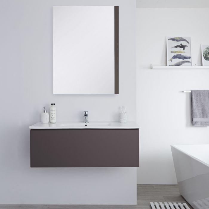 Mueble de Lavabo Mural Moderno de 1000mm Color Gris Opaco con Lavabo Integrado para Baño Disponible con Opción LED  - Newington