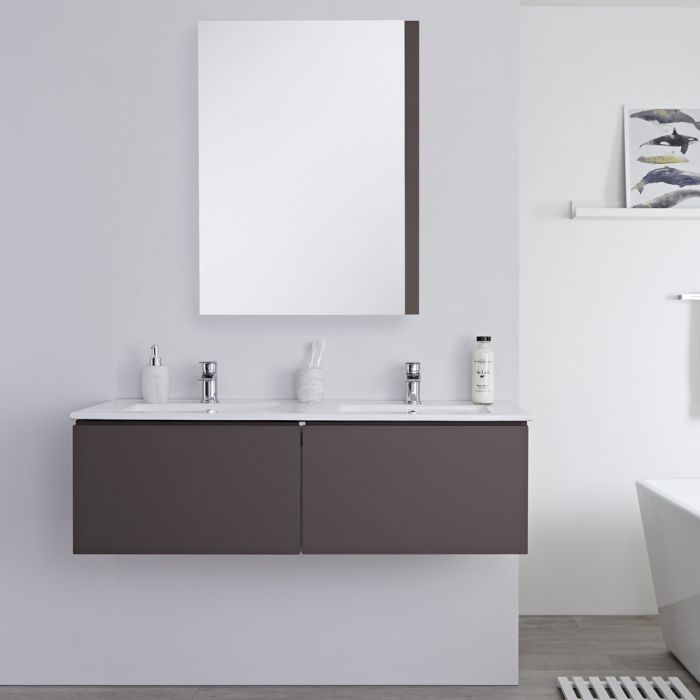 Mueble de Lavabo Mural Moderno de 1200mm Color Gris Opaco con Lavabo Doble Integrado para Baño Disponible con Opción LED- Newington