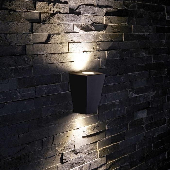 Biard Apliqué de Pared Exterior Pirámide con Luz Bidireccional Color Negro