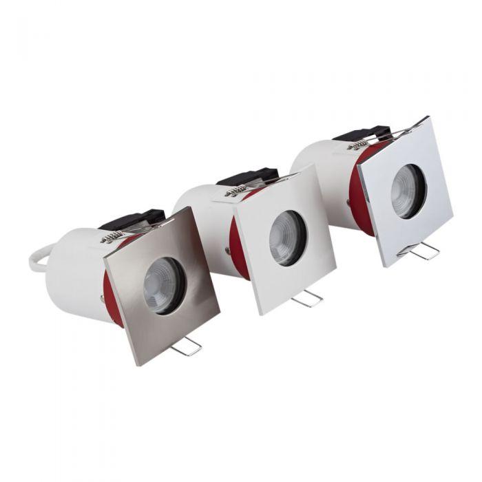 Biard Conjunto con 3 Focos Downlight Empotrables de Techo Clasifícación Ignífuga GU10 IP65 con Bisel Cuadrado Disponible en 3 Colores