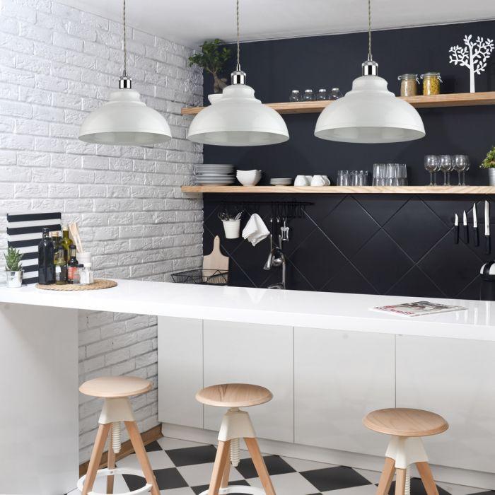 Biard Lámpara de Techo de Suspensión Retro de Latón con Acabado de Color Blanco - Dalston