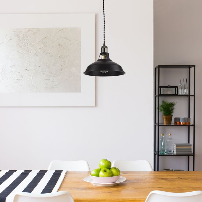 Biard Lámpara de Techo de Suspensión Moderno de Latón con Acabado de Color Negro - Brera