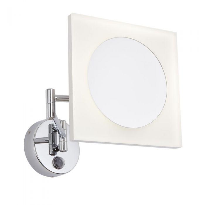 Espejo de Aumento x3 Mural LED de Baño Cuadrado con Brazo Extensible - Ladoga
