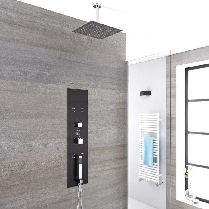 Panel de Ducha Empotrable Hidromasaje Minimalista con Alcachofa de Ducha Fija de 400mm y Brazo de Ducha de Techo de 150mm
