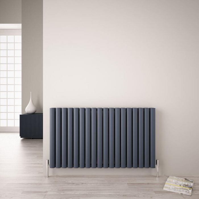Radiador de Diseño Horizontal Doble - Antracita - 600mm x 1070mm - 2067 Vatios - Revive Air