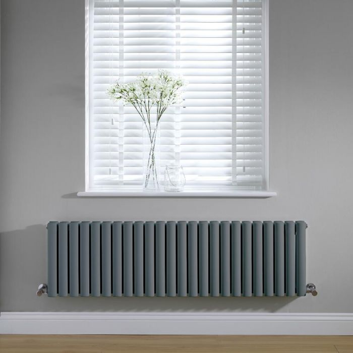 Radiador de Diseño Horizontal Doble - Antracita - 400mm x 1411mm x 78mm -1485 Vatios – Revive