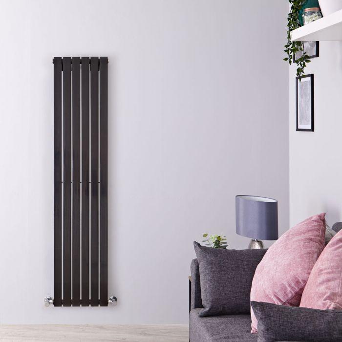 Radiador de Diseño Vertical - Negro Lúcido - 1600mm x 354mm x 54mm - 861 Vatios - Sloane