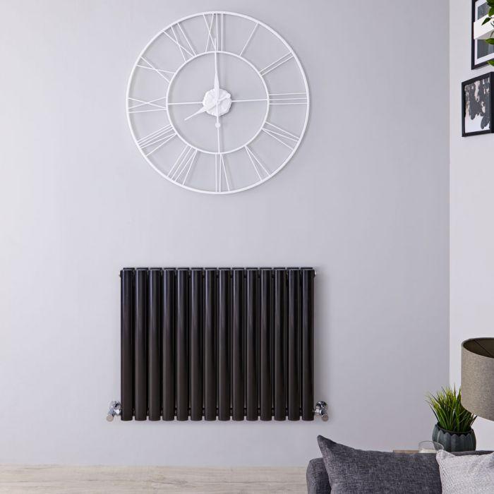 Radiador de Diseño Horizontal Doble - Negro Lúcido - 635mm x 834mm x 78mm - 1304 Vatios - Revive