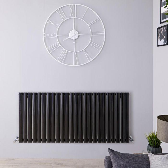 Radiador de Diseño Horizontal Doble - Negro Lúcido - 635mm x 1411mm x 78mm - 2235 Vatios - Revive
