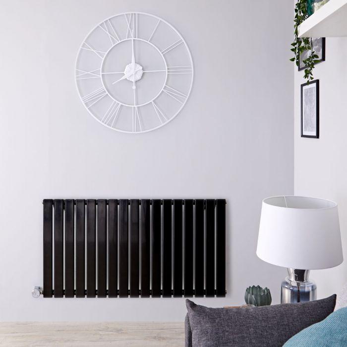 Radiador de Diseño Eléctrico Horizontal - Negro Lúcido - 635mm x 1190mm x 46mm - Elemento Termostático de 1000W - Delta