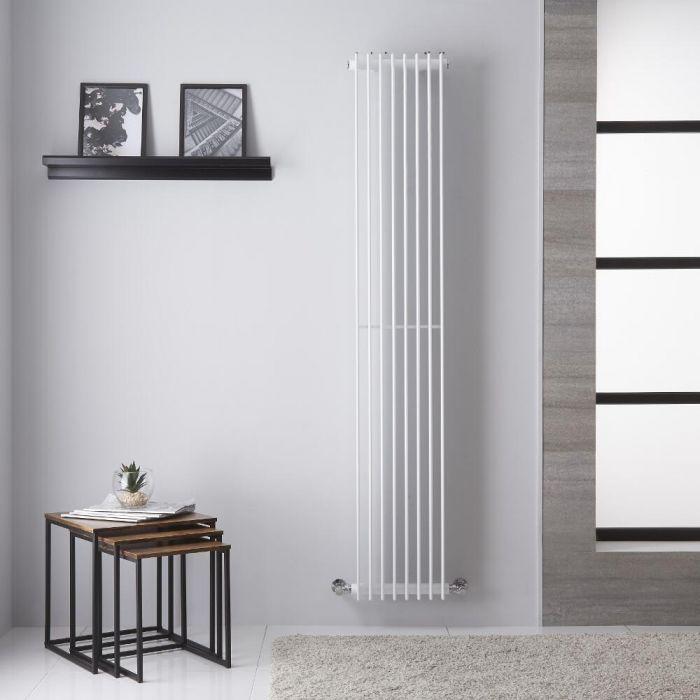 Radiador Toallero de Diseño Vertical - Color Blanco - 1800mm x 325mm - 1152 Vatios - Roma