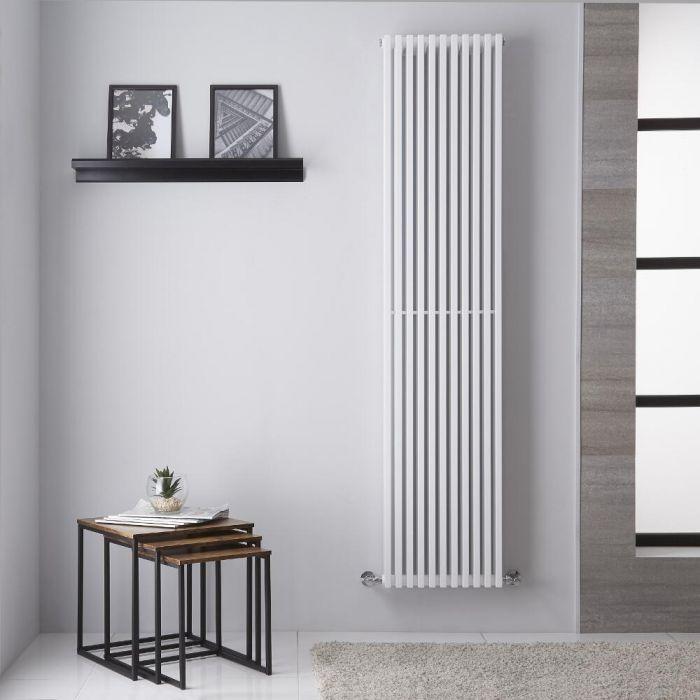 Radiador de Diseño Vertical Doble  - Blanco - 1806mm x 392mm -1025 Vatios - Columnas Cuadradas Neive