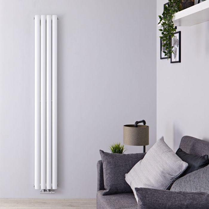 Radiador de Diseño Vertical Doble Con Conexión Central - Blanco - 1600mm x 236mm x 78mm - 858 Vatios - Revive Caldae