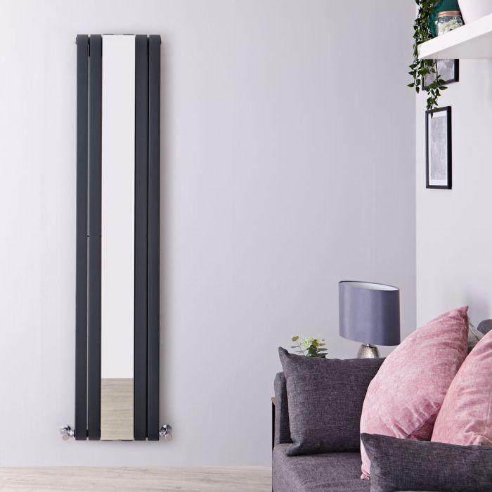 Radiador de Diseño Vertical Doble - Antracita - 1800mm x 381mm x 130mm - 1682 Vatios - Sloane