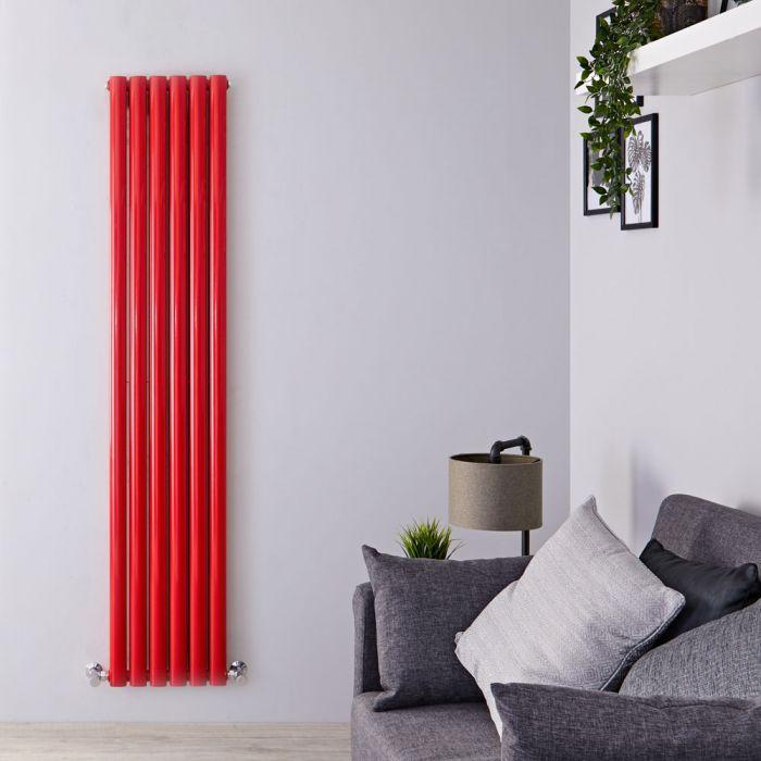 Radiador de Diseño Vertical Doble - Rojo - 1800mm x 355mm x 79mm - 1632 Vatios - Revive