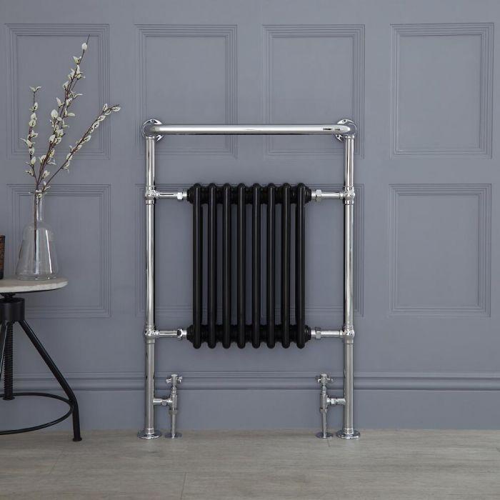 Radiador de Diseño Vertical - Cromado y Negro - 960mm x 675mm x 230mm - 680 Vatios - Marquesa