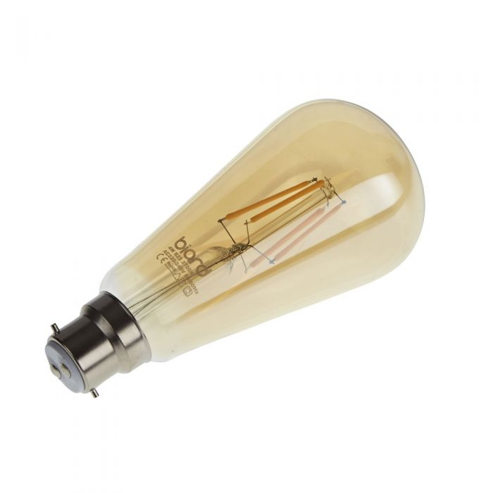 Biard Conjunto con 6 Bombillas Bombilla LED Tradicionales B22 4W con Filamentos e Intensidad Luminosa Regulable