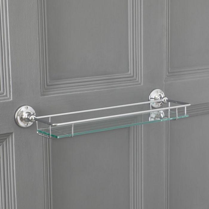 Repisa Porta Objetos en Vidrio Mural para Baño con acabado en Cromo