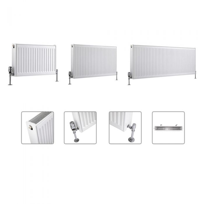 Radiador Convector Horizontal con Panel Doble - Blanco - Disponible en Distintas Medidas – Eco
