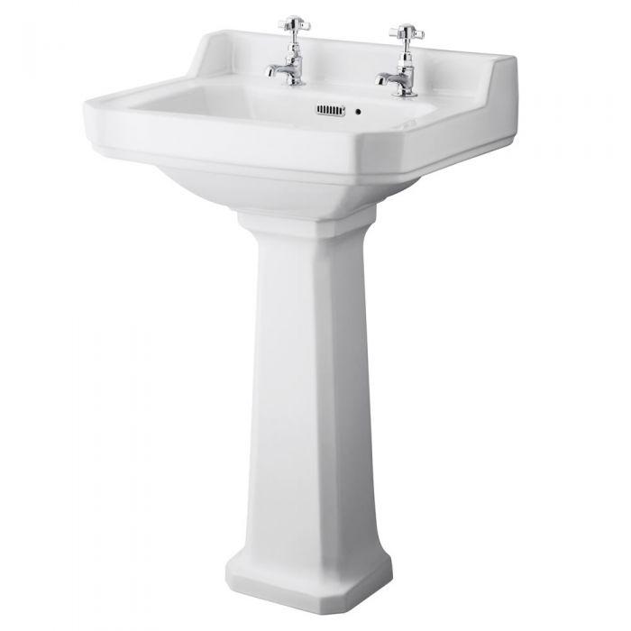 Conjunto Retro para  Cuarto de Baño Completo con Inodoro WC con Opción de Distintas Tapas de WC y Lavabo de 2 Agujeros  - Old London