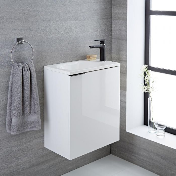 Mueble de Lavabo Suspendido con Acabado Color Blanco Lacado 500x300x600mm con Lavabo Integrado - Ranwick