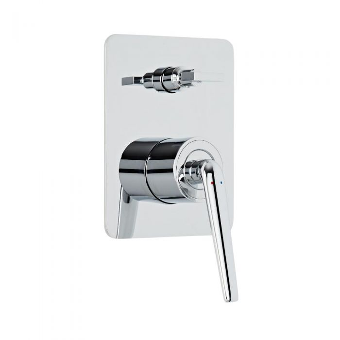 Mezclador de Ducha Manual Moderno de 2 Salidas con Desviador Realizado de Latón Cromado - Ora