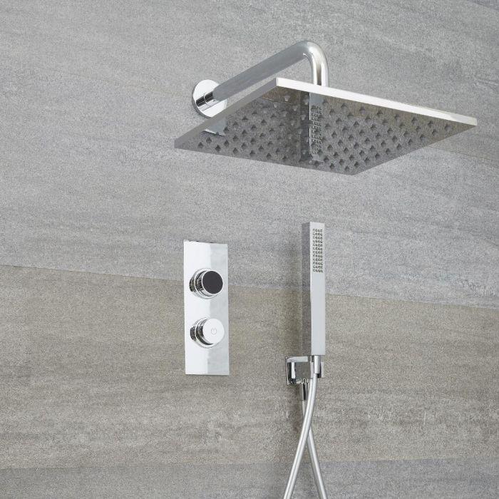 Ducha Digital con Sistema de Control de 2 Salidas con Alcachofa de Ducha Cuadrada de 300mm y Telefonillo de Ducha - Narus