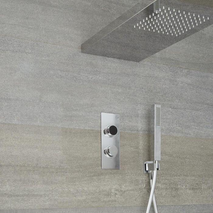 Ducha Digital con Sistema de Control de 2 Salidas con Alcachofa con Soporte para Mampara de 800x250mm y Telefonillo de Ducha - Narus